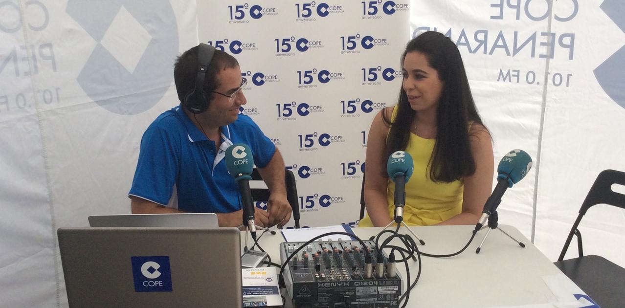 Virginia Sánchez durante una entrevista a COPE Peñaranda