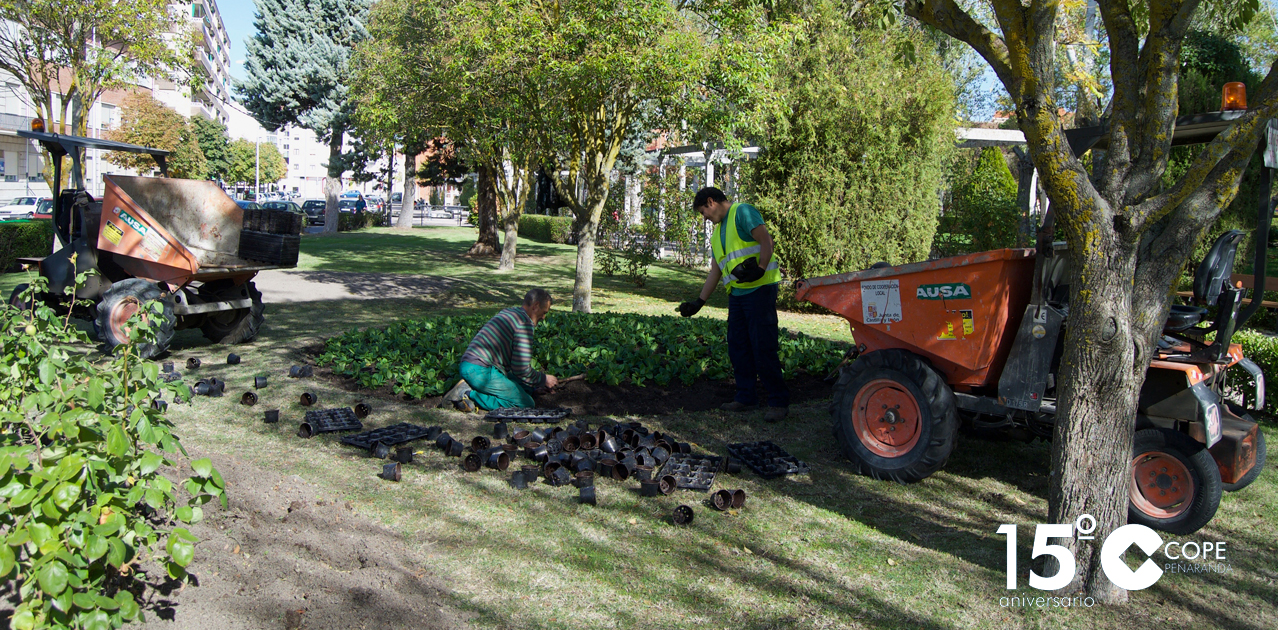 Operarios municipales en el parque de los Jardines de Peñaranda