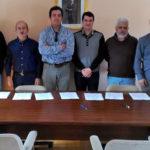 Alcaldes de los nueve municipios hermanados en el proyecto «Comunidad viva CyL».