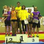 Los podium masculino y femenino de la IX San Rocada 2017.