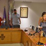 Un momento tras el tenso pleno en el Ayuntamiento de Peñaranda.