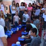 Escolares peñarandinos participaron en esta jornada de reanimación cardiopulmonar de Cruz Roja.