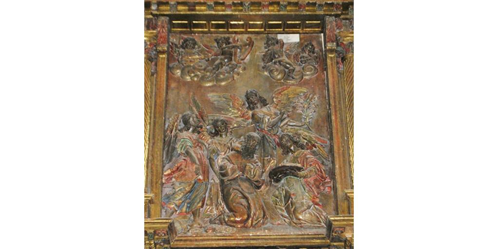 Relieve de San Francisco de Paula, de la iglesia de Bóveda.
